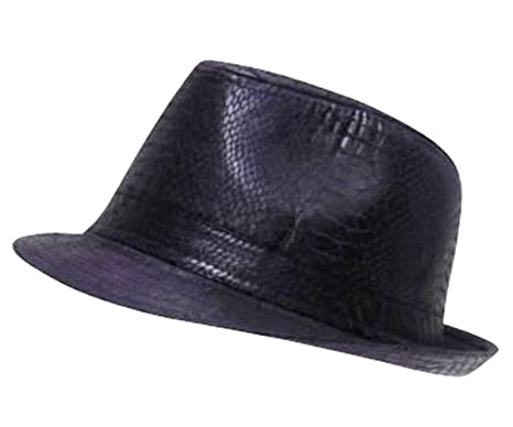 297b9ffdd05 Snakeskin Faux Leather Trilby Fedora Cap Hat (Available in Black, Purple and  Brown)