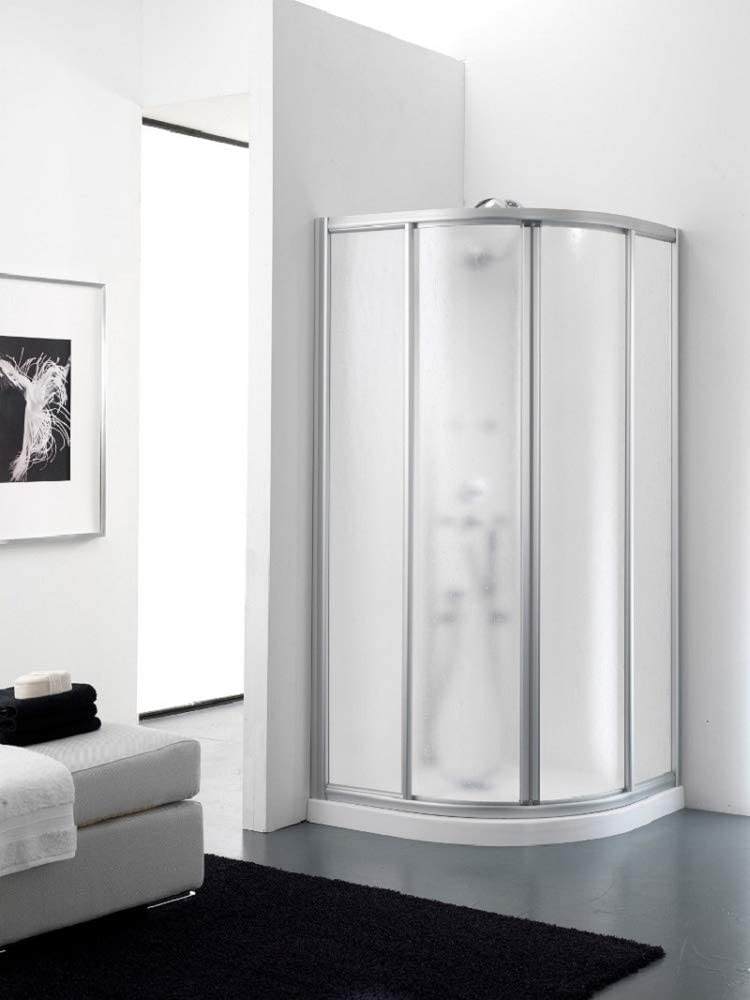 Granisud - Cabina de ducha de acrílico de 3 mm semicircular con apertura deslizante - Perfiles de plata satinado: Amazon.es: Hogar