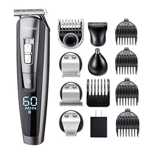 HATTEKER Beard Trimmer Kit For Men Cordless Mustache Trimmer Hair Trimmer Groomer Kit Precision Trimmer Nose Hair Trimmer Waterproof USB Rechargeable 5 In 1 - 51PdgK41VqL - HATTEKER Beard Trimmer Kit For Men Cordless Mustache Trimmer Hair Trimmer Groomer Kit Precision Trimmer Nose Hair Trimmer Waterproof USB Rechargeable 5 In 1