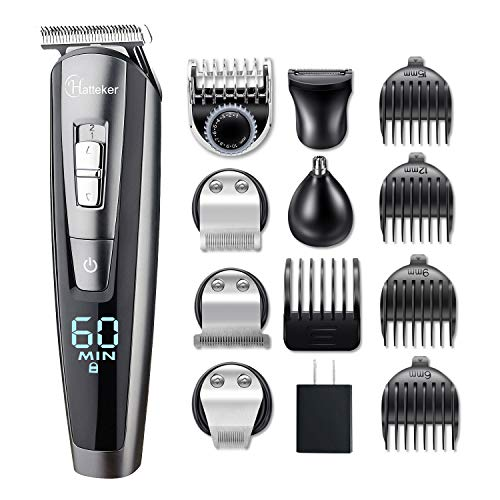 (HATTEKER Beard Trimmer Kit For Men Cordless Mustache Trimmer Hair Trimmer Groomer Kit Precision Trimmer Nose Hair Trimmer Waterproof USB Rechargeable 5 In 1)