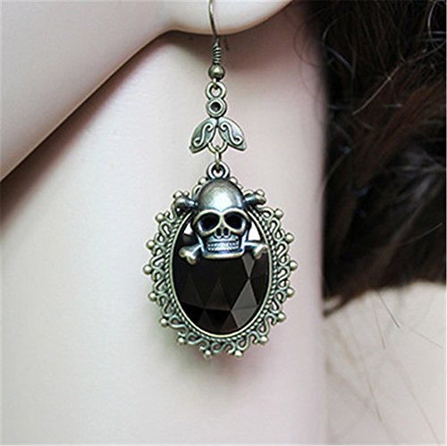 Scary Cown (Pavian Gothic retro skull diamond hanging earrings for Halloween costuem jewelry black)