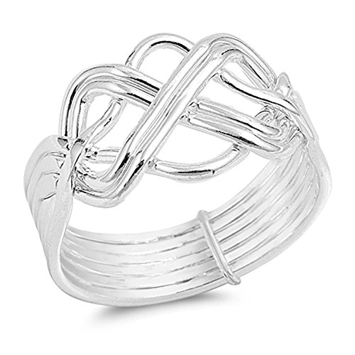 High Polish Bar Knot Puzzle Ring New .925 Sterling Silver Band Sizes 5-13