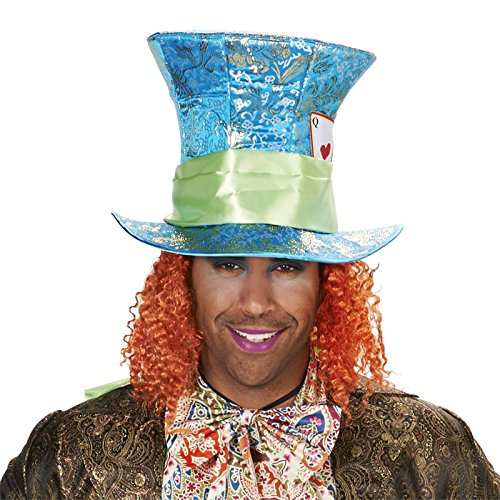 Blue Mad Hatter Adult Hat with Attached Wig One Size (Mad Hatter Alice In Wonderland Costume)
