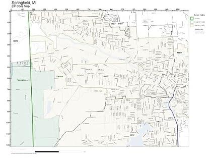 Springfield Va Zip Code Map.Amazon Com Zip Code Wall Map Of Springfield Mi Zip Code Map Not