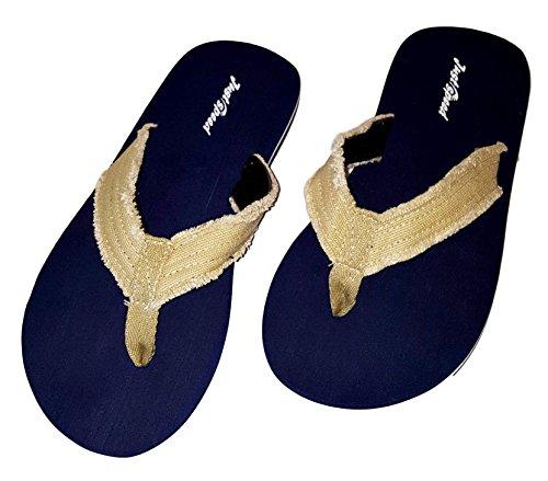 Mens Distressed Flip Flops Sandal Sommersko Marineblå Med Tan Stropper