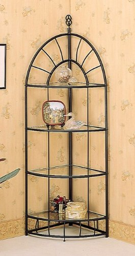 Southwestern Sunburst Design Sandy Black Metal 4 Tier Corner Shelf/Etagere Rack (Black Etagere)