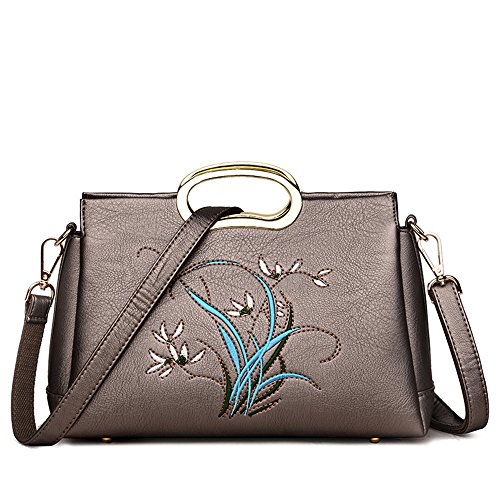 Con Brown Handbag En Bordado Cuero Brown Agua Lady'S Lavaron GWQGZ qzB5AZwA