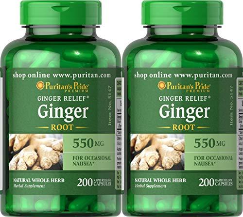 Puritans Pride Ginger Root 550 mg-200 Capsules (2 Pack)