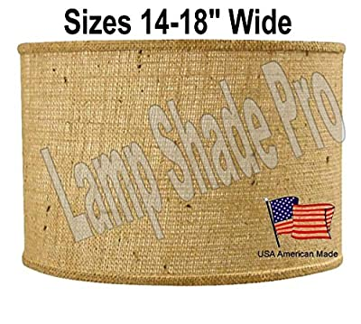 """Burlap Shallow Drum Lamp Shade 4 Sizes 14-18"""" Wide USA Made in America Exclusively Lamp Shade Pro Rustic Lampshade w/Hardback Liner for Table & Floor Lamps"""