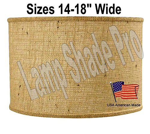 Burlap Shallow Drum Lamp Shade IN STOCK  - 24
