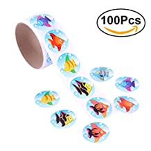 NUOLUX Colorful Tropical Fish Stickers Roll for Kids Great Party Favors Creative Reward Gift size 100 Stickers