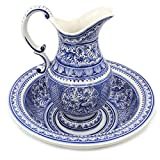 Madeira House Coimbra Ceramics Hand-Painted Wash Basin with Pitcher XVII Cent Recreation #109