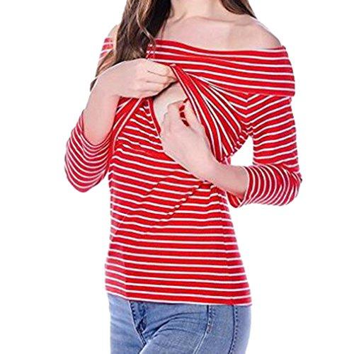Yying T-Shirt a Manica Lunga a Maniche Lunghe da Donna Striscia Rossa