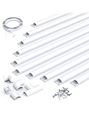 D Channel Cord Cover, 157in Cable Concealer Cover, Pre-Drilled PVC Cable Hider, Paintable Wire Hider to Hide Conceal Cords, Cables in Home & Office, CC06 White