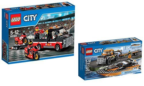- LEGO City Speed Edition 2 Set Bundle - Racing Bike Transporter 60084 and Powerboat with Truck 60085
