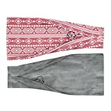 Maven Thread Women's Headband Yoga Running Exercise Sports Workout Athletic Gym Wide Sweat Wicking Stretchy No Slip 2 Pack Set AZTEC