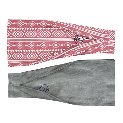 Women's Headband Yoga Running Exercise Sports Workout Athletic Gym Wide Sweat Wicking Stretchy No Slip 2 Pack Set AZTEC