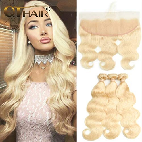 QTHAIR 10A 613 Bundles With Frontal Brazilian Virgin Human Hair(18 20 22+16,Bleached Knots) Blonde 3 Bundles With Closure Brazilian Body Wave Human Hair Blonde Bundles With Frontal