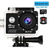 AIMTOM EC-7 Action Camera with 16G MicroSD Card, 4K 60fps Ultra HD Video Cam 170 Degree Super Vision 16MP 2 Inch Screen, 30M Waterproof WIFI HDMI Remote Control Portable Sports Camera Underwater Case