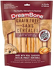 DreamBone DREAMSTICKS Grain Free Dog Treat, Chicken, Rawhide Alternative Dog Chew, 10 Sticks