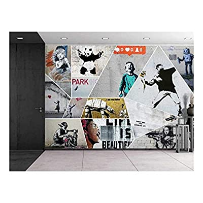 Classic Design, Delightful Work of Art, Peel and Stick Wallpapaer Banksy Art Series Collage Removable Large Wall Mural Creative Wall Decal