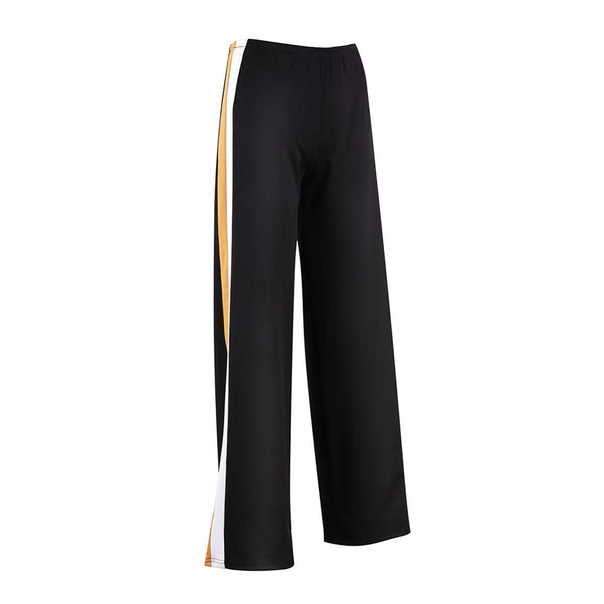 Dzień dobry Women Fashion High Waist Both Side with Stripe Loose Casual Long Pants Trousers (Black, S)