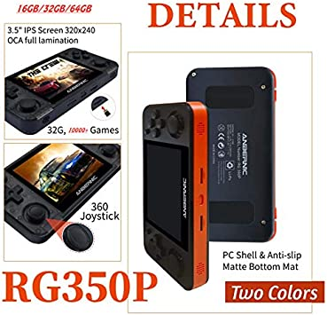 RG350P Consola de Juegos Retro Game Console OpenDingux Tony System Consolas de Juegos Port/átil Free with 32G TF Card Built-in 2500 Juegos 3.5 Pulgadas IPS Videojuegos Port/átil HDMI Output
