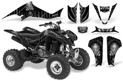 CreatorX Kawasaki Kfx 400 Graphics Kit Decals Skull Chief Silver by CreatorX (Image #1)
