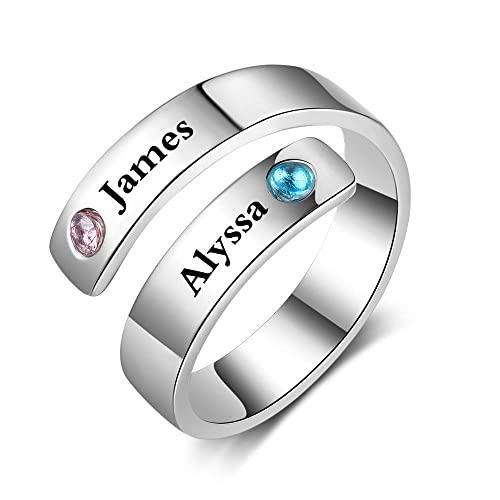 1d5b7c5709fbc Fortheday Personalized Spiral Twist Ring Engraved Names BFF Wrap Rings with  2 Simulated Birthstones for Women Adjustable Best Friends Promise Rings ...