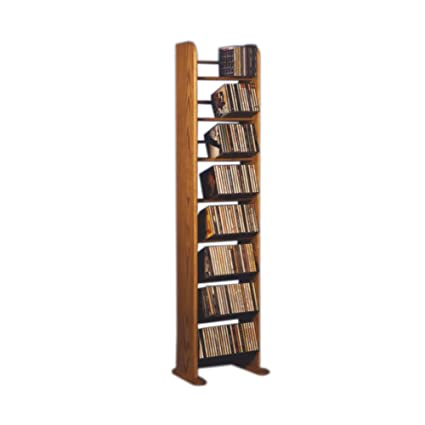 Cdracks Media Furniture Solid Oak 8 Row Dowel Tower CD Rack Capacity 208  CDu0027s Honey Finish