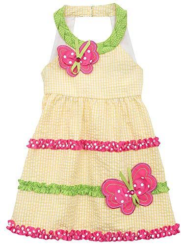 Rare Editions Toddler Girls Butterfly Seersucker Spring / Summer Dress, Yellow , 2T