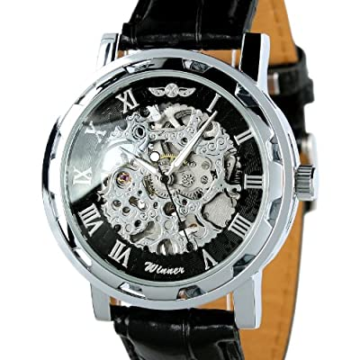 ESS Men's Black Dial Leather Strap Luxury Stainless Case Hand-Wind Up Mechanical Wrist Watch WM090