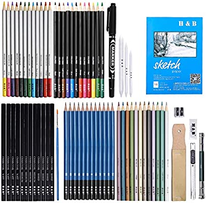 Sketch Drawing Pencil Set,60 Pcs Sketching Pencils Art Supplies Kit with Drawing Tool in Pop Up Zipper Case Ideal Gift for Beginners,Pro Artists Drawing Art Sketching Shading