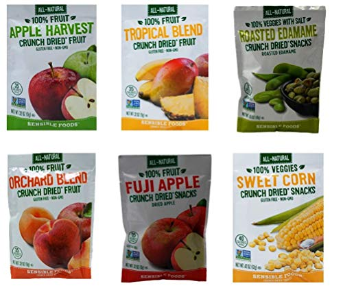 (Sensible Foods All-Natural Gluten Free Vegan Non-GMO Crunch Dried Fruit Snacks 6 Flavor Sampler Bundle, 1 each: Apple Harvest, Tropical Blend, Roasted Edamame, Orchard Blend, Fuji Apple, Sweet Corn)