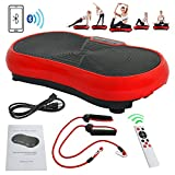 Nova Microdermabrasion Fitness Vibration Platform Full Body Workout Machine Crazy Fit Vibration Plate W/Remote Control And Balance Straps, Bluetooth Exercise Equipment(Red) For Sale