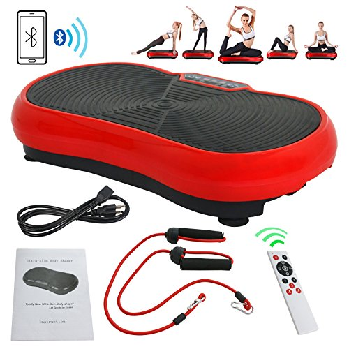 Fitness Vibration Platform Full Body Workout Machine Vibration Plate W/Remote Control and Balance Straps, Bluetooth Exercise Equipment(Red) by Nova Microdermabrasion (Image #10)