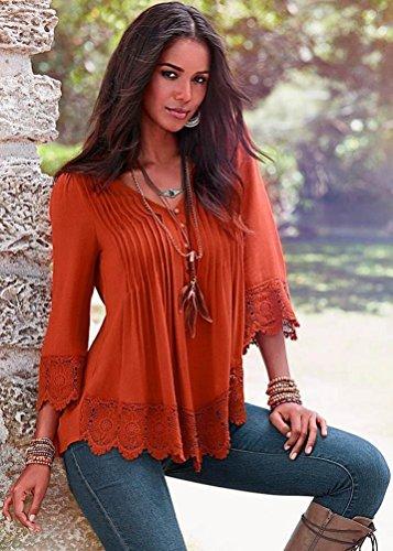 Donna A Collo Orange V Camicia Routinfly q6PSnIw