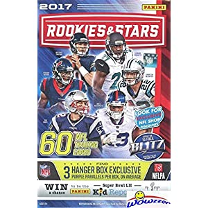 2017 Panini Rookies & Stars NFL Football HUGE 60 Card Factory Sealed HANGER Box with 3 EXCLUSIVE PURPLE PARALLELS! Look for RC & Autos of PATRICK MAHOMES, Mitch Trubisky,Deshaun Watson & More! WOWZZER