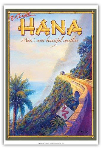 Visit Hana - Maui's Most Beautiful Coastline - Hawaii - Vintage Style Hawaiian Travel Poster by Kerne Erickson - Master Art Print - 13 x 19in ()