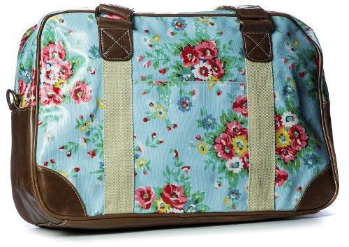 Big Handbag Shop Watreproof Floral Travel Medium Holdall Bag (1102 - Light Blue)