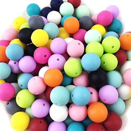 500pc 12mm Silicone Beads Loose Teething Chew Jewelry Teething Necklace Teether Toy DIY Supplies by Mulitigy