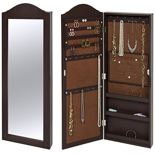 Best Choice Products Wall Mounted Mirror Jewelry Cabinet Armoire Brown