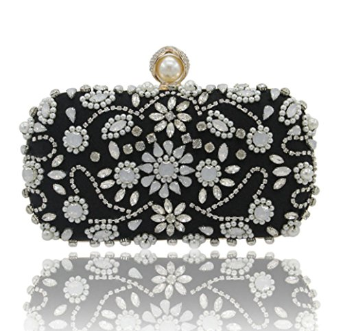 Sac Partie à Fait Perles Diamant Luxe Vintage Pochette De De Robe Main La Sac Black FqnWTgPxwx