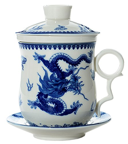 BandTie Convenient Travel Office Ceramics Teacup Loose Leaf Tea Brewing System-Chinese Jingdezhen Blue and White Porcelain Tea Cup Infuser 4-Piece Set with Tea Cup Lid and Saucer (Dragon Pattern)