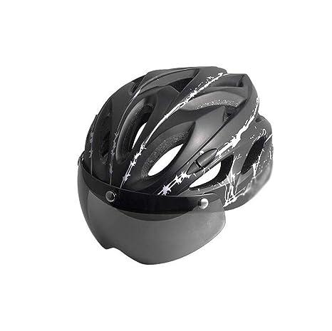 JBHURF Bicicleta de Ciclismo Casco Gafas de una Sola Pieza Mountain Bike Cascos Hombres y Mujeres