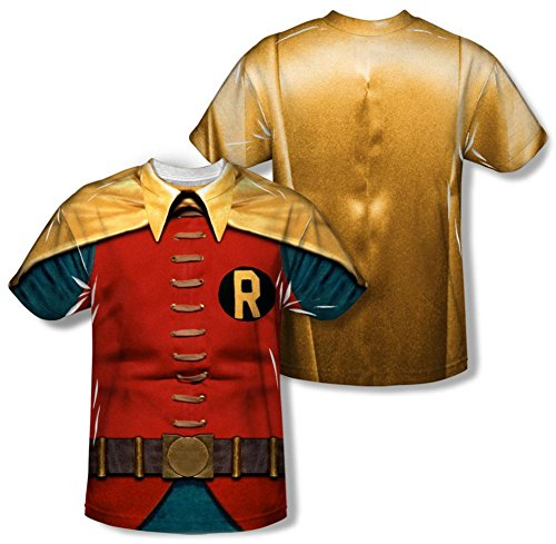 [Youth: Batman Classic TV - Robin Costume (Front/Back Print) Kids T-Shirt Size YL] (1960s Batman And Robin Costumes)