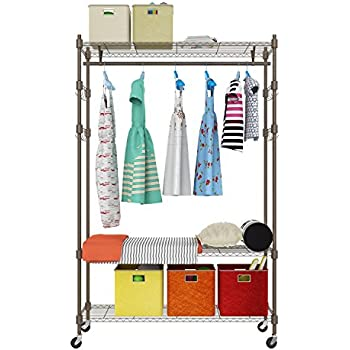 Amazon Com Wire Shelving Unit With Hanging Rods And