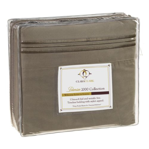 Clara Clark 2000 Collection Micro Suede Bed Sheet Set, King Size, Sage Green ()