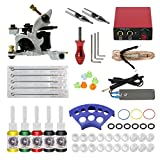 ITATOO Complete Tattoo Kit for Beginners Tattoo Power Supply Kit 5 Tattoo Inks 5 Tattoo Needles 1 Pro Tattoo Machines Kit Tattoo Supplies TK104013