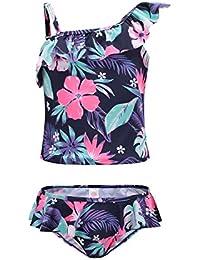 ec11b71cf1ad3 Girls Two Piece Tankini Swimsuit Hawaiian Ruffle Swimwear Bathing Suit Set  Blue